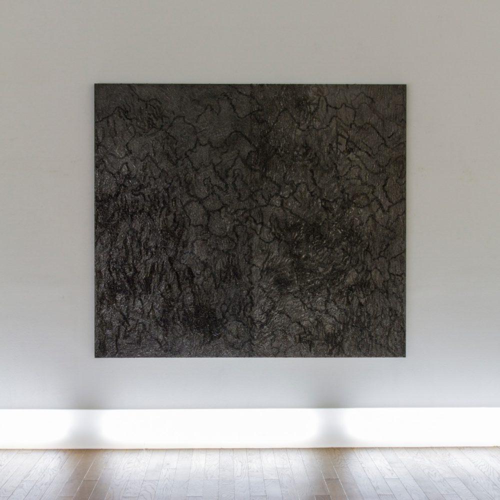 untitled 14T1 / 2014 / h160, w182, d3.6cm / glue, graphite, wooden panel