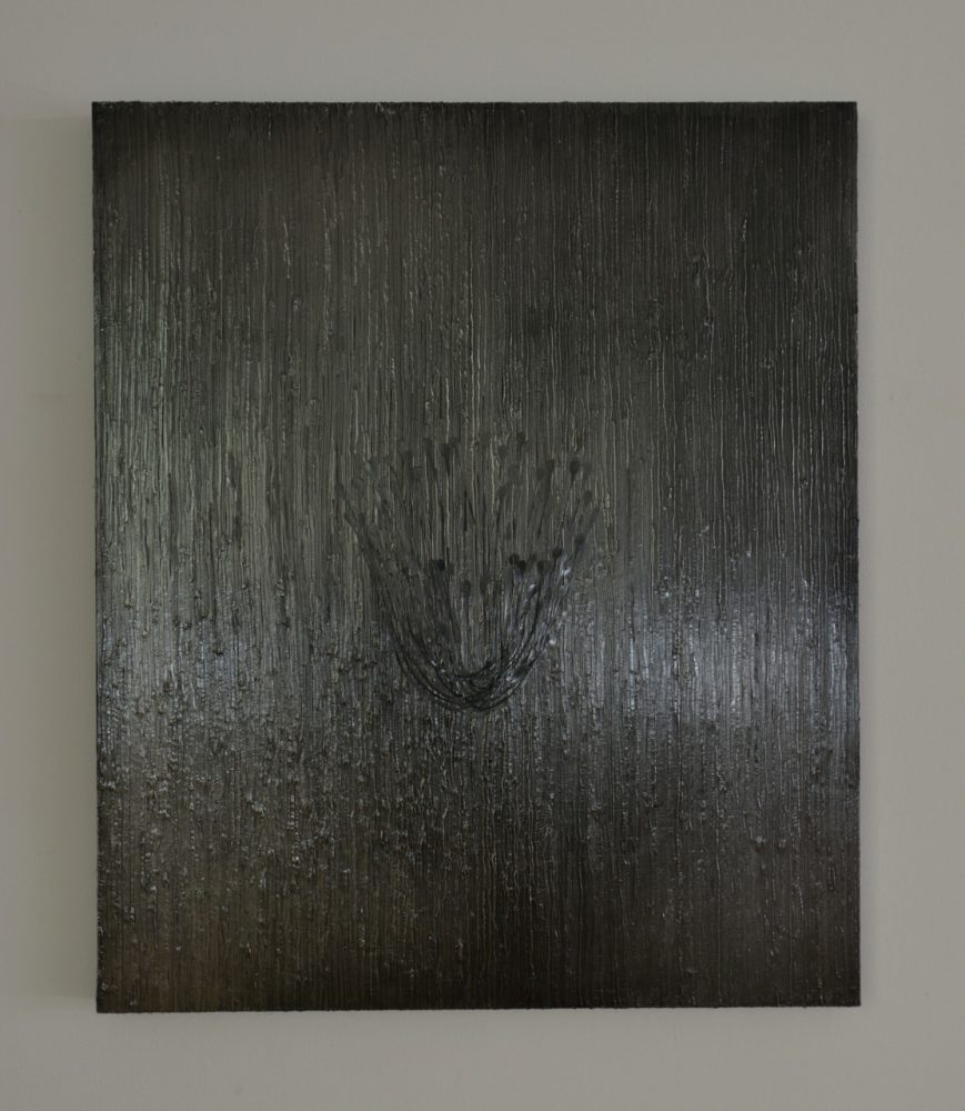 untitled 15K3 / 2015 / h91, w77, d4.5cm / glue, graphite, wooden panel